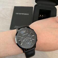 Совершенно новый оригинальный Emporio Armani мужские часы AR2461 черный ремень и циферблат Великобритания