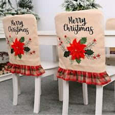 US! Merry Christmas Flower Chair Covers Dining Seat Cover Party Kitchen Decor
