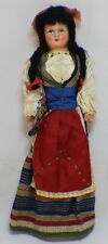 Vintage Celluloid or Plaster Greek Doll with Cloth Body Traditional attire