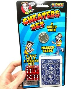 3pc CHEATERS SET - Marked Playing Cards - 2 Sided Coin - Magic Trick Dice Prank
