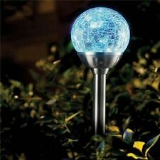 6 x Stainless  Steel Solar Crackled Glass Ball Lights Colour Changing NEW