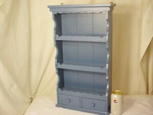 "Vtg Wood Blue Wall Shelf Plate Rack Display Country Farmhouse Drawers  23"" Tall"