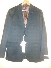 Navy check tailored jacket by Feraud size 42 BNWT