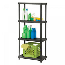4 Tier Plastic Free Standing Shelving Unit Garage Storage Space Saver No Ship Ca
