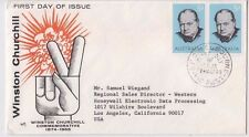 Stamps Australia 5d Churchill pair on Marq cachet FDC sent to Los Angeles USA