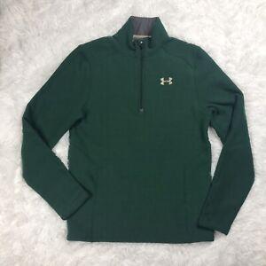 Under Armour Coldgear 1/4 Zip Knit Sweater Jacket Mens Size M Medium Green EUC