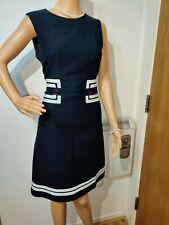 HOBBS EMBELLISHED DRESS SIZE UK 12 US 8 NAVY BLUE CREAM 100% COTTON