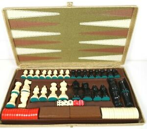Vintage Backgammon Chess Board Game Foldable  - Complete