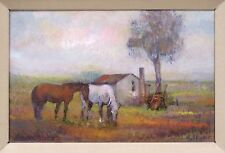 Oil Painting Horse Pasture by Fortunato Vallone Descanso Framed Italian