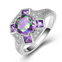 Party Cocktail Round Cut Rainbow White Topaz Amethyst Gemstone Silver Ring Gifts
