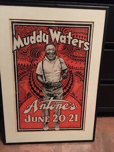 "Vintage Original Framed ""Dancing Muddy"" Muddy Waters Poster By Danny Garrett"