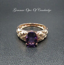 Tests as 10K gold 10ct Rose Gold Amethyst Solitaire Ring Size Q 1/2 3.7g