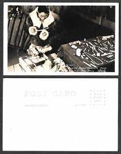 Old Alaska Real Photo Postcard - Eskimo Ivry Carver using Old Bow Drill