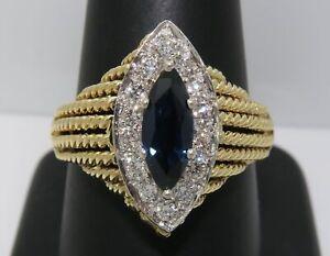 18K Gold ~ HUGE - 1.49 Carat BLUE SAPPHIRE & DIAMOND Halo LARGE Ring ~ WAS $2800