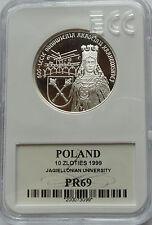 10 ZL ZLOTYCH POLAND POLEN 1999 SILVER 925 JAGIELLONIAN UNIVERSITY MS69