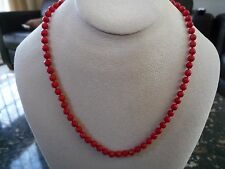 """Antique Faceted Genuine Red Coral Necklace 14k 17"""""""