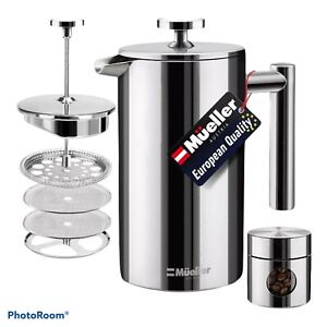 Mueller French Press Coffee Maker/Double Insulated 310 Stainless Steel 34oz-NIOB