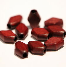 Wooden Beads, Flat Diamond, Lacquered, Mahogany, 9mm x 6mm (pack of 10)