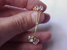 Estate  Vintage 3.00ct Cubic Zirconia  14k Yellow Gold  Earrings Studs