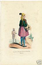 1840 hand color lithograph German costume Wenden Altenburg Saxony