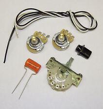 Telecaster Guitar Wiring Kit CTS 500K Solid Shaft Pots Orange Drop .022uf Cap