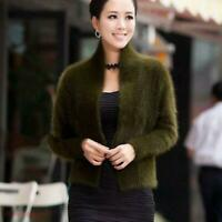 Womens mink Fur cashmere sweater womens Cardigan Coat Jacket Outwear Warm Slim