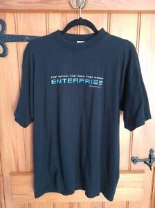 Ladies Men's Official Vintage Star Trek Enterprise Black T-Shirt Size Large