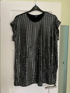 Ladies Black Sequin New Look Curves Party Top Size 18 New Without Tags