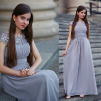 Ever-Pretty Elegant Grey Lace Maxi Evening Party Dresses Wedding Ball Gown 09993