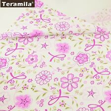 Teramila Fabrics Cotton High Quality Fresh Pink Flower Textile 50cmx160cm Twill