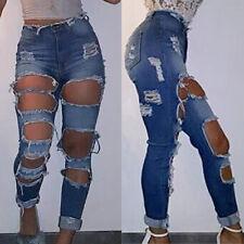 Women Denim Skinny Ripped Pants High Waist Stretch Jeans Pencil Trouser M XL XXL