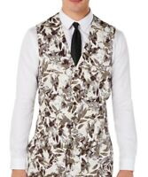 INC Mens Suit Seperates Beige Size Medium M Slim Fit Linen Vest Floral $59 483