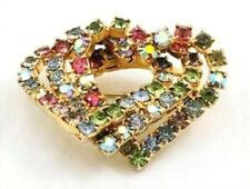 Pin Triple Interlocking Heart Rhinestones Silver Gold 2 Tone Metal Brooch