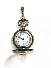 Antique Designed Bronze Pocket/Pendent Ladies Watch, 18K GP, Ornate Half Hunter