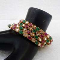 Stimulated Multi Gemstone Jewelry Ethnic Indian golden Bangles Bracelet Set 2.8*
