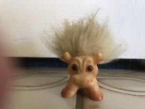 Rare 1964 Dam Things Cow Troll Doll Animal Gray Hair Mane Amber Eyes Vintage