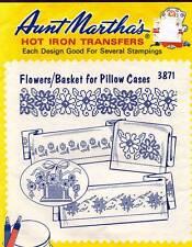 VTG Aunt Martha's Flowers/Basket for Pillow Cases Transfer Pattern 3871