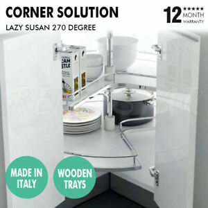 Lazy Susan 270 Degree Wooden Tray Set Italy Made Corner Cupboard Solution