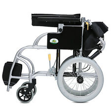 EXCELLENT Light Aluminum Transport Chair Folding Back Mobility 16'' Wheel chair