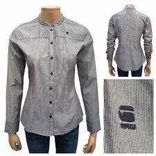 G-STAR Ladies Correct Smoking Shirt Size M Black Pinstripe Long Sleeve