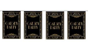 GATSBY 1920s SMALL FLAG INTERIOR BUNTING Classy in Black and Gold Gloss - 2.4m