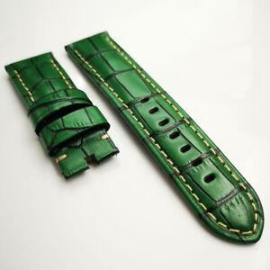 24mm Bamboo Green Full-grain Calf Leather Band Strap for PAM LUNMINOR RADIOMIR