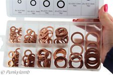 140 Pieces Washers Solid Copper Sump Plug Assorted Garage Engine Washer Set