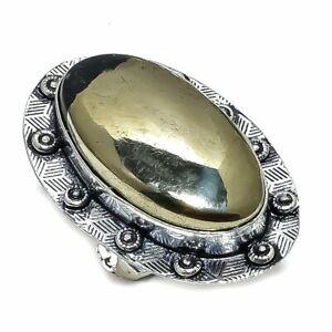 Apache Pyrite Gemstone Handmade 925 Sterling Silver Ring Size 8