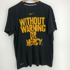 Nike T-Shirt Men's L Black Without Warning or Mercy Kobe Bryant Black Mamba Logo