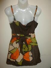 MONSOON Ladies Brown Orange Green Floral Cotton Summer Strappy Top Size 12 VGC