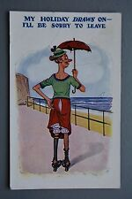 R&L Postcard: Comic, EM 941, Old Skinny Woman, Hairly Legs, Wrinkly Stockings
