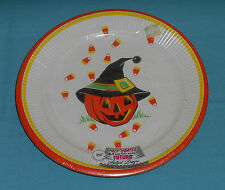 vintage HALLOWEEN PAPER PLATES by Futura jack-o-lantern in witch hat candy corn