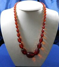 ARTISAN Faceted Graduated RED AMBER BEADS Hand Assembled Vintage NECKLACE Estate