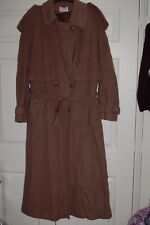 New 12 Dark Tan Long Tall Sally Cashmere Wool Long Maxii Full Length Coat Belt